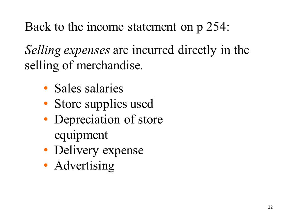 Back to the income statement on p 254: