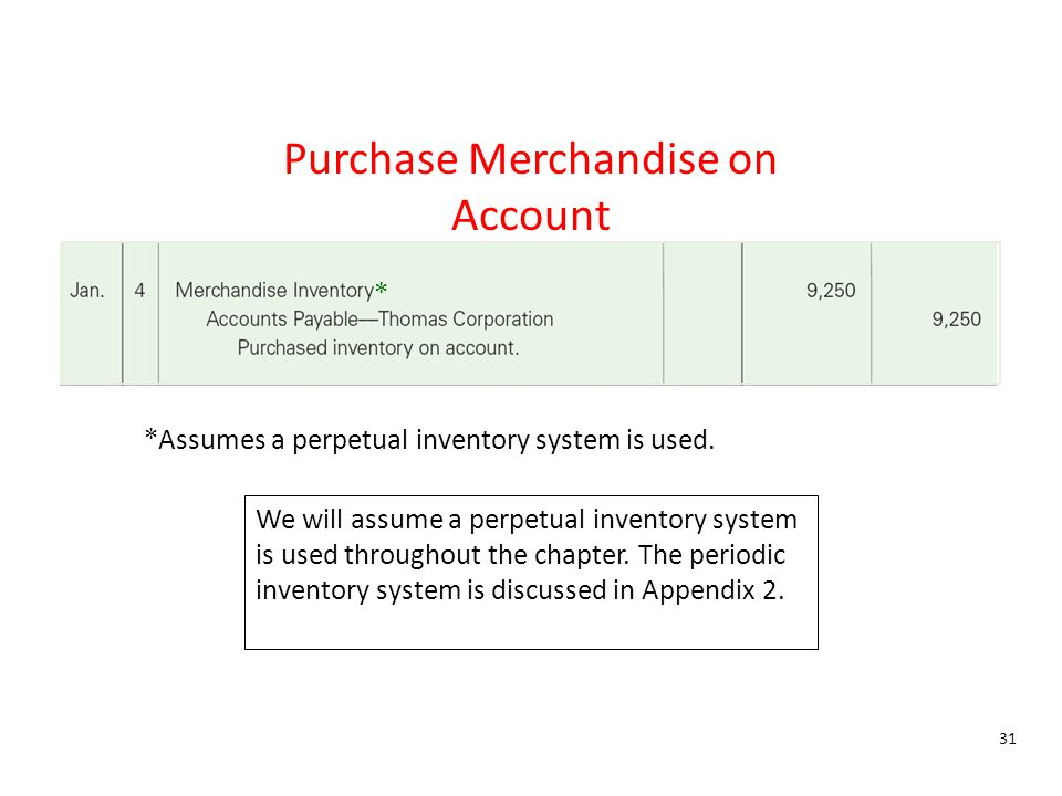 Purchase Merchandise on Account