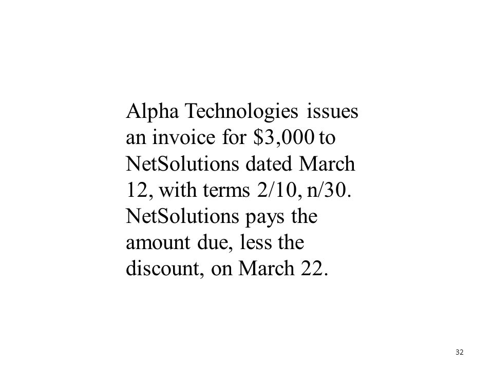 Alpha Technologies issues an invoice for $3,000 to NetSolutions dated March 12, with terms 2/10, n/30.