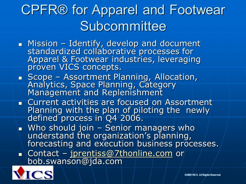 CPFR® for Apparel and Footwear Subcommittee