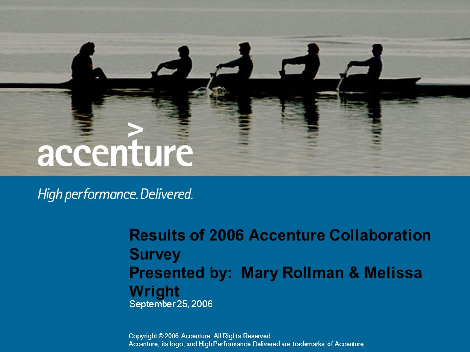 Results of 2006 Accenture Collaboration Survey Presented by: Mary Rollman & Melissa Wright