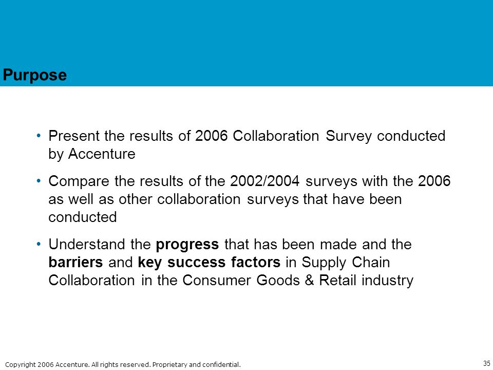 Purpose Present the results of 2006 Collaboration Survey conducted by Accenture.