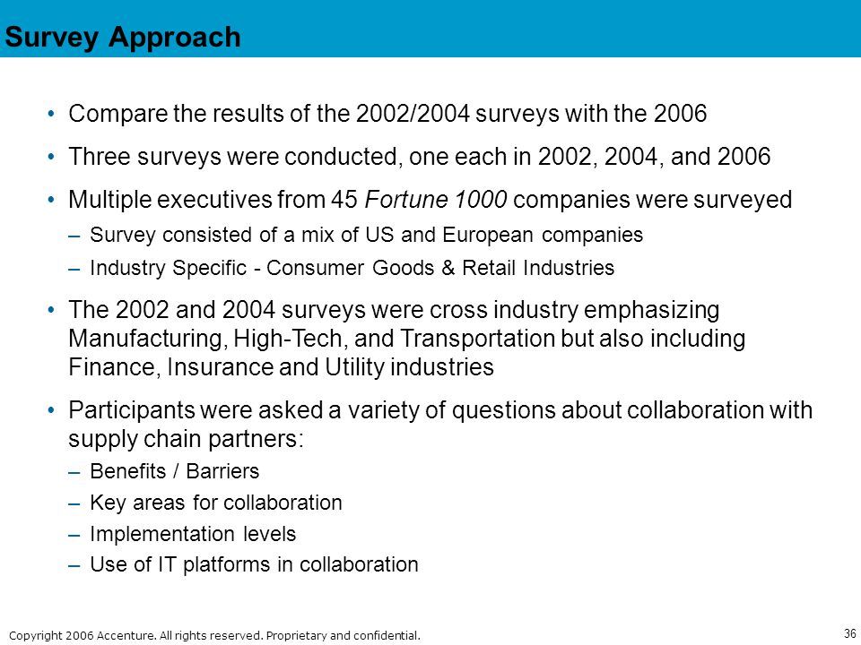 Survey Approach Compare the results of the 2002/2004 surveys with the 2006. Three surveys were conducted, one each in 2002, 2004, and 2006.
