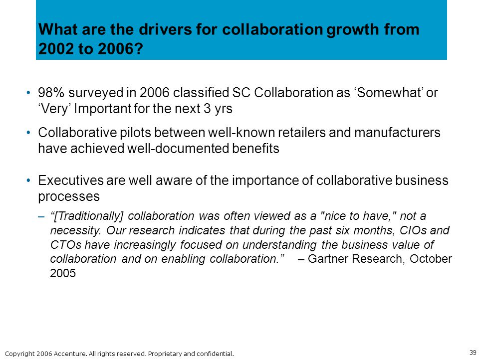 What are the drivers for collaboration growth from 2002 to 2006