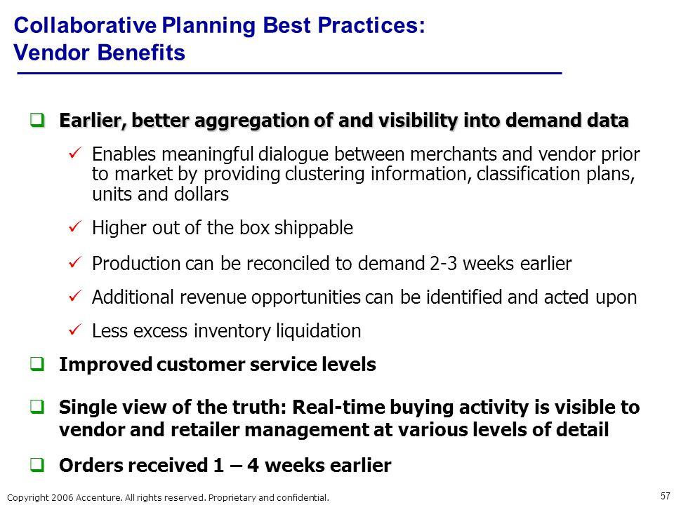 Collaborative Planning Best Practices: Vendor Benefits