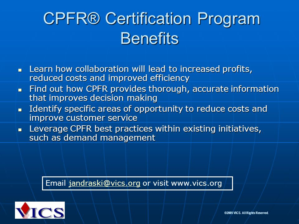 CPFR® Certification Program Benefits