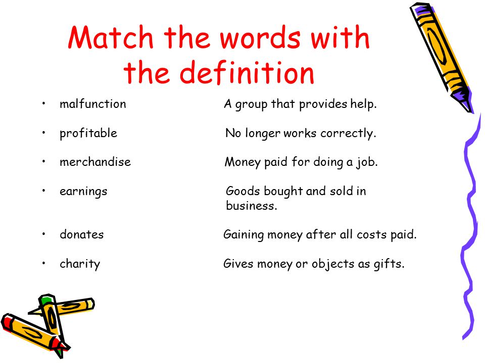 Match the words with the definition