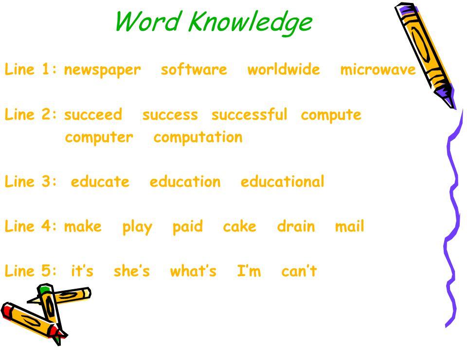 Word Knowledge Line 1: newspaper software worldwide microwave