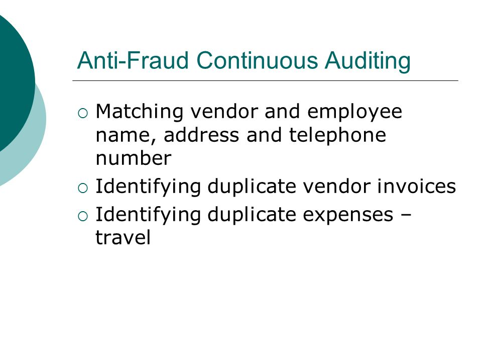 Anti-Fraud Continuous Auditing