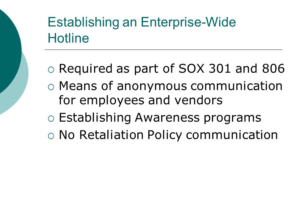 Establishing an Enterprise-Wide Hotline