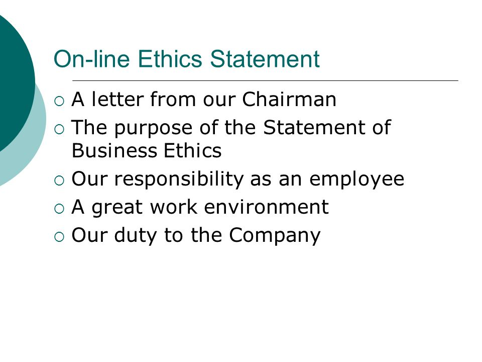 On-line Ethics Statement