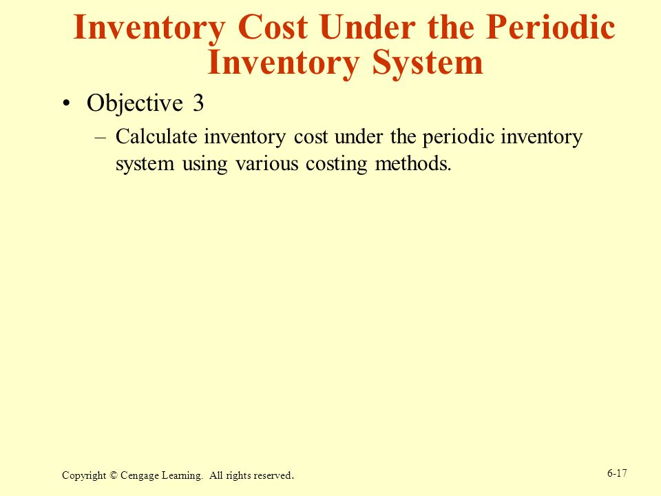 Inventory Cost Under the Periodic Inventory System