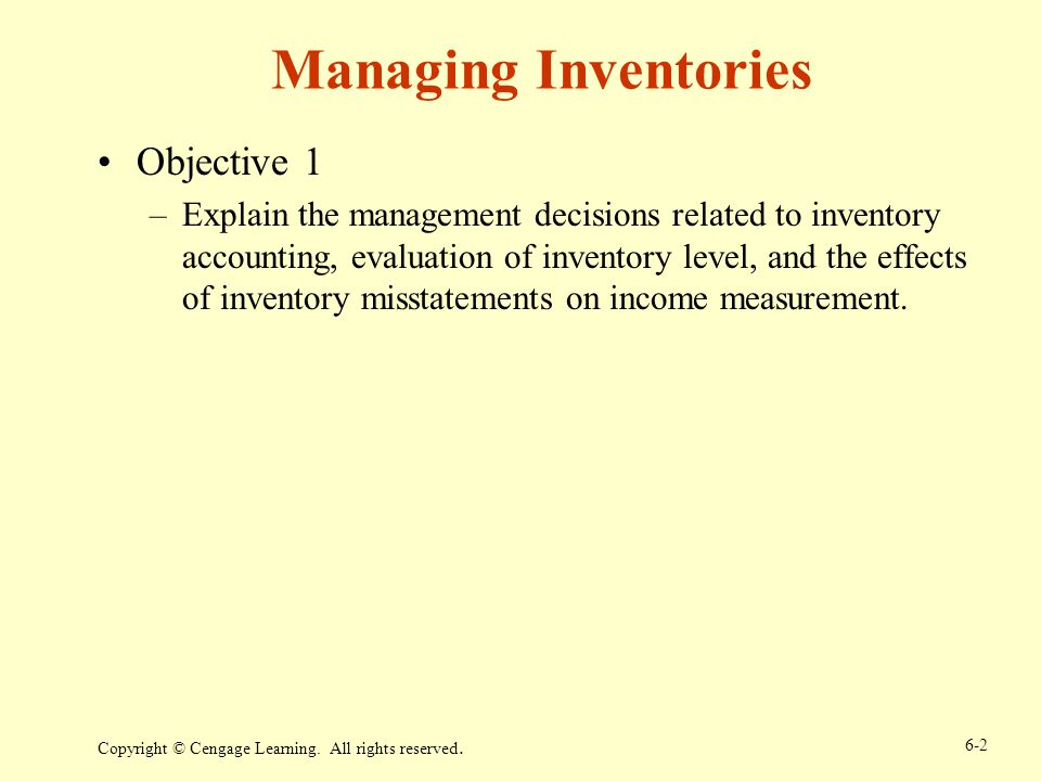 Managing Inventories Objective 1