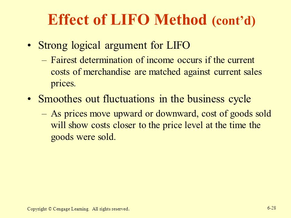 Effect of LIFO Method (cont'd)