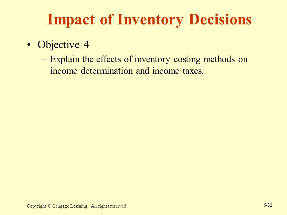 Impact of Inventory Decisions