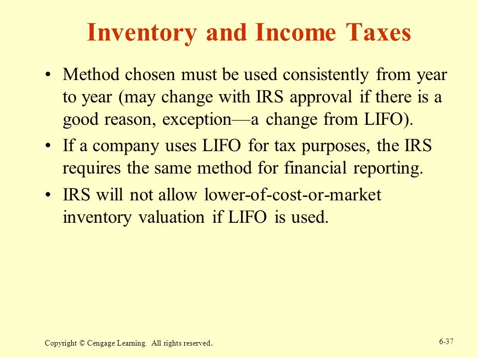 Inventory and Income Taxes