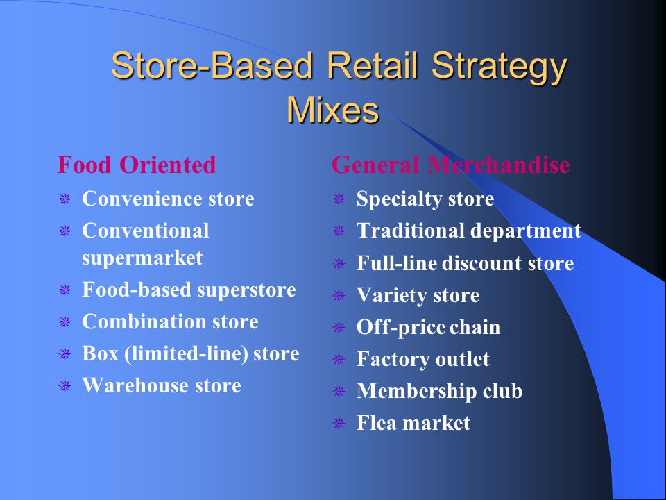 Store-Based Retail Strategy Mixes