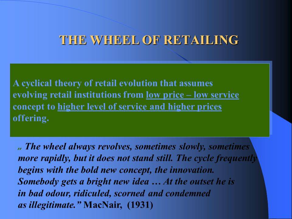 THE WHEEL OF RETAILING A cyclical theory of retail evolution that assumes. evolving retail institutions from low price – low service.