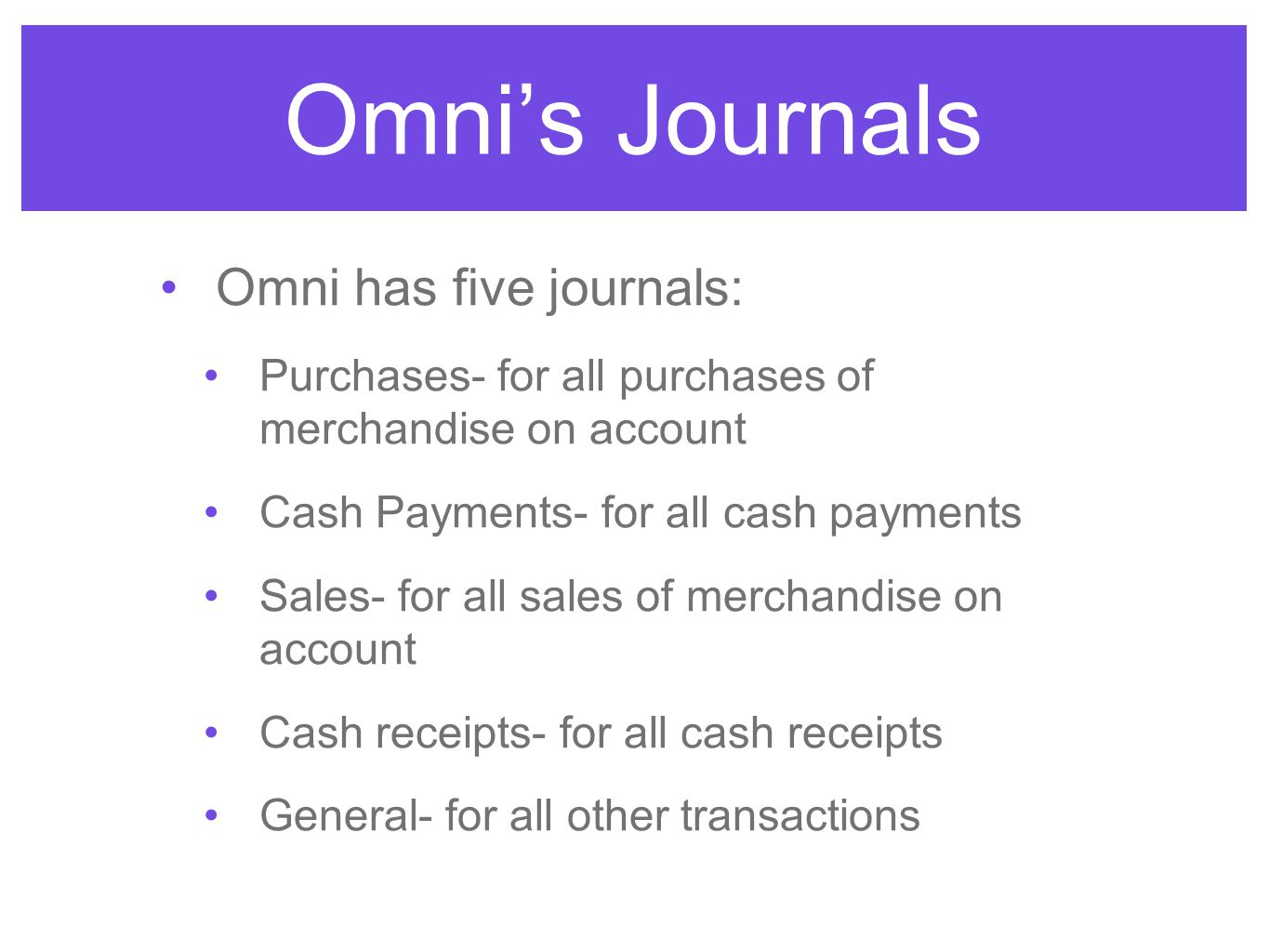 Omni's Journals Omni has five journals: