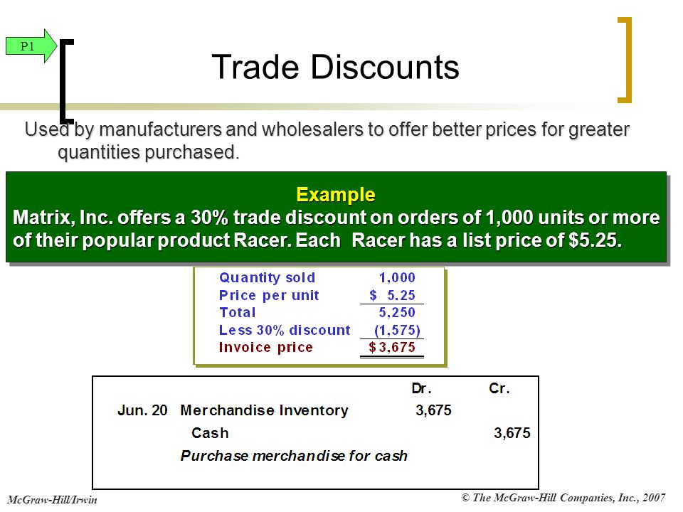 Trade Discounts P1. Used by manufacturers and wholesalers to offer better prices for greater quantities purchased.
