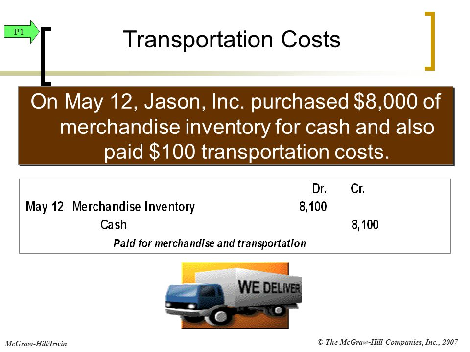 Transportation Costs P1. On May 12, Jason, Inc. purchased $8,000 of merchandise inventory for cash and also paid $100 transportation costs.