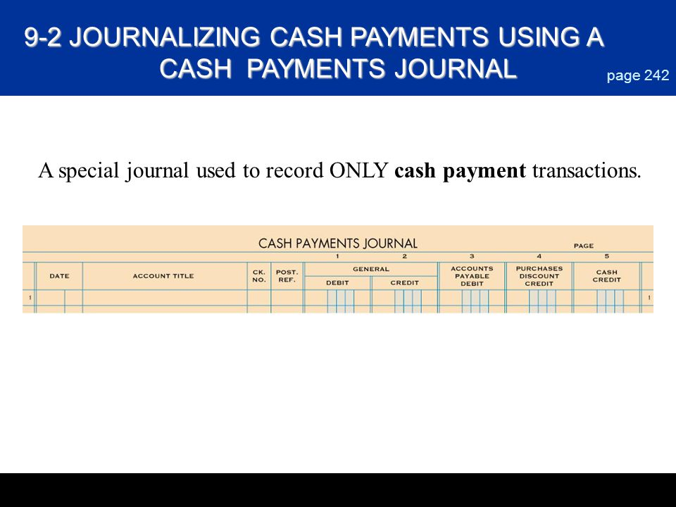 9-2 JOURNALIZING CASH PAYMENTS USING A CASH PAYMENTS JOURNAL