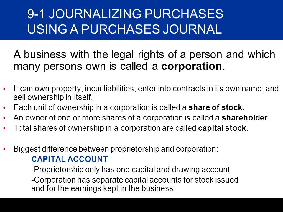 9-1 JOURNALIZING PURCHASES USING A PURCHASES JOURNAL
