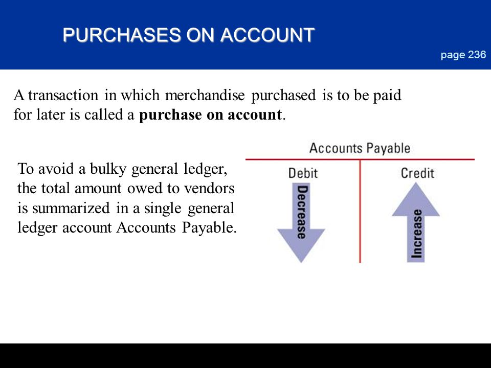 Chapter 9 PURCHASES ON ACCOUNT. page 236. A transaction in which merchandise purchased is to be paid.