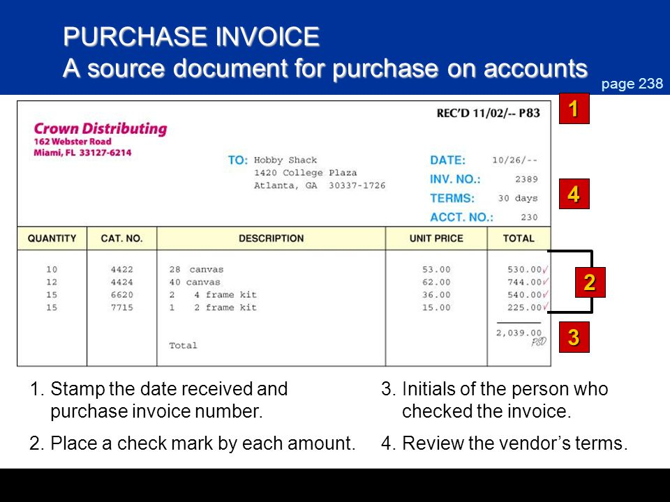PURCHASE INVOICE A source document for purchase on accounts