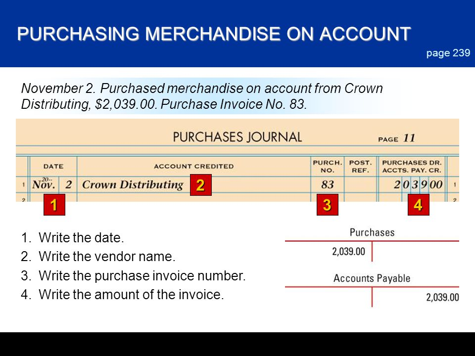PURCHASING MERCHANDISE ON ACCOUNT