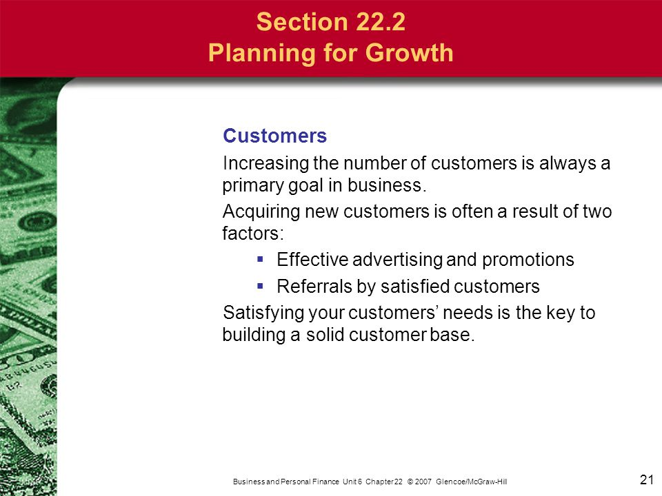 Section 22.2 Planning for Growth