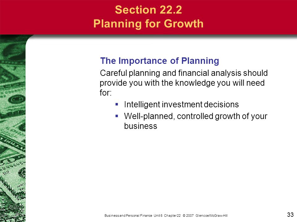 Business and Personal Finance Unit 6 Chapter 22 © 2007 Glencoe/McGraw-Hill