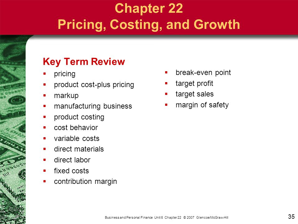 Chapter 22 Pricing, Costing, and Growth
