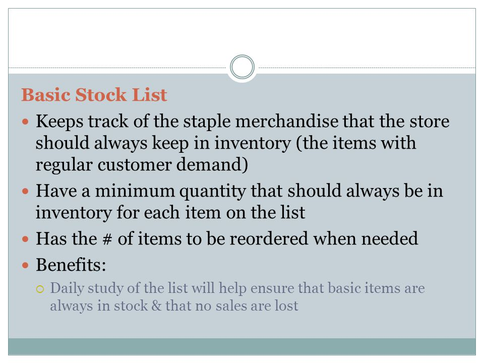 Has the # of items to be reordered when needed Benefits: