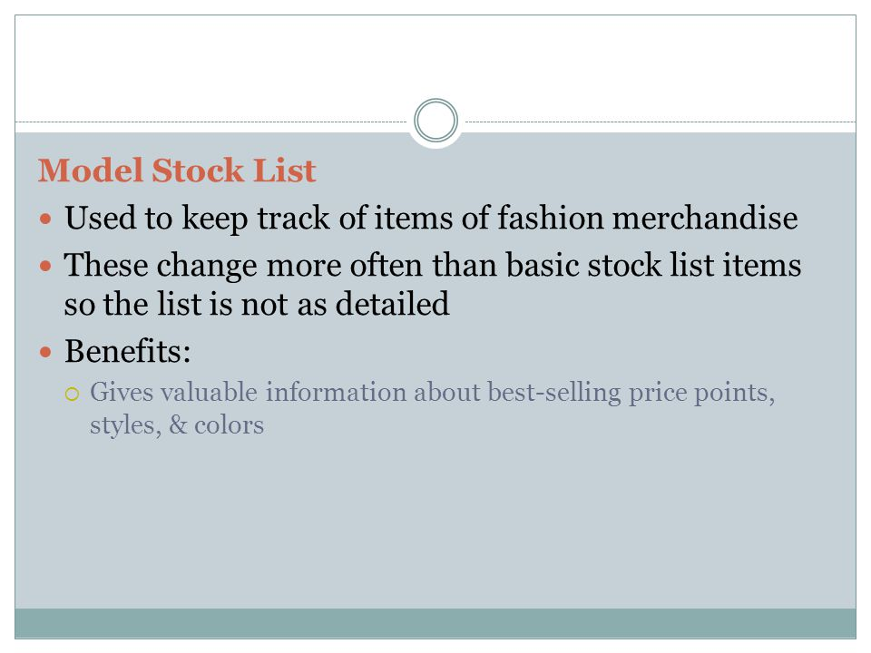 Used to keep track of items of fashion merchandise