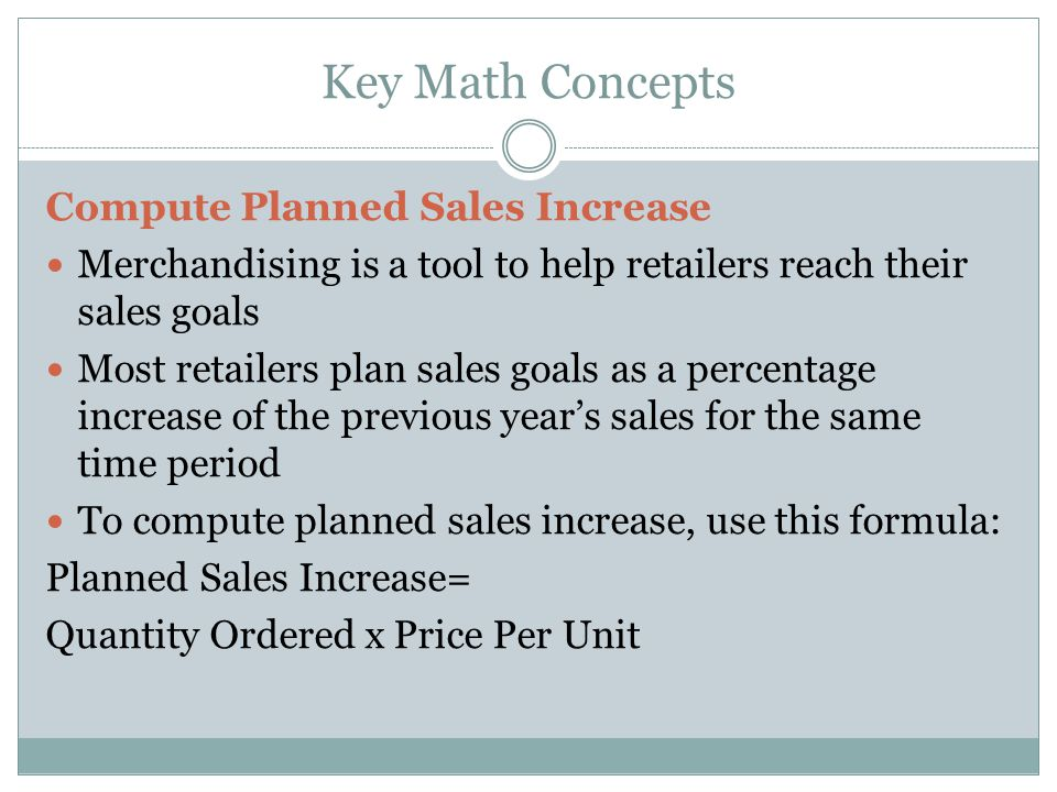 Key Math Concepts Compute Planned Sales Increase