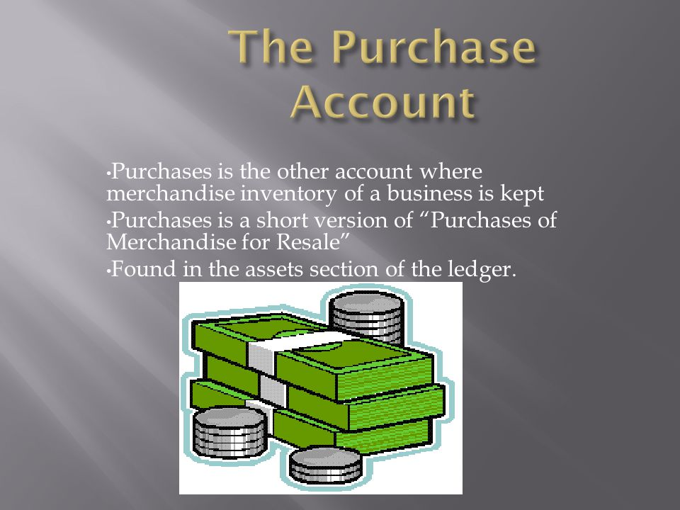 The Purchase Account Purchases is the other account where merchandise inventory of a business is kept.