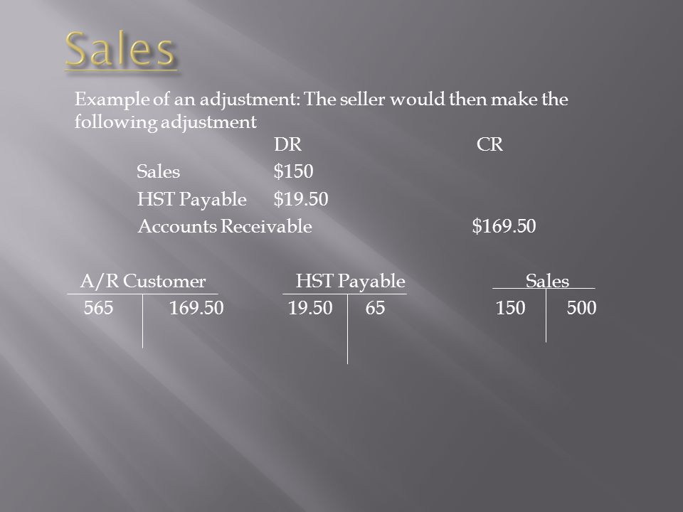 Sales Example of an adjustment: The seller would then make the following adjustment DR CR.