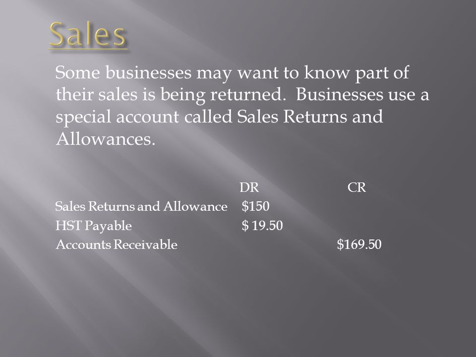 Sales Some businesses may want to know part of their sales is being returned. Businesses use a special account called Sales Returns and Allowances.