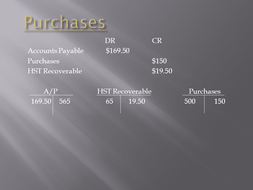 Purchases DR CR Accounts Payable $169.50 Purchases $150