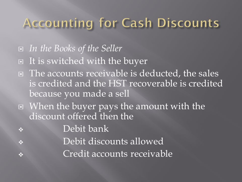 Accounting for Cash Discounts