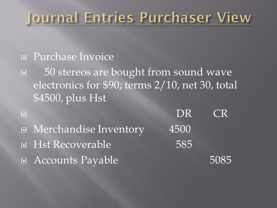 Journal Entries Purchaser View