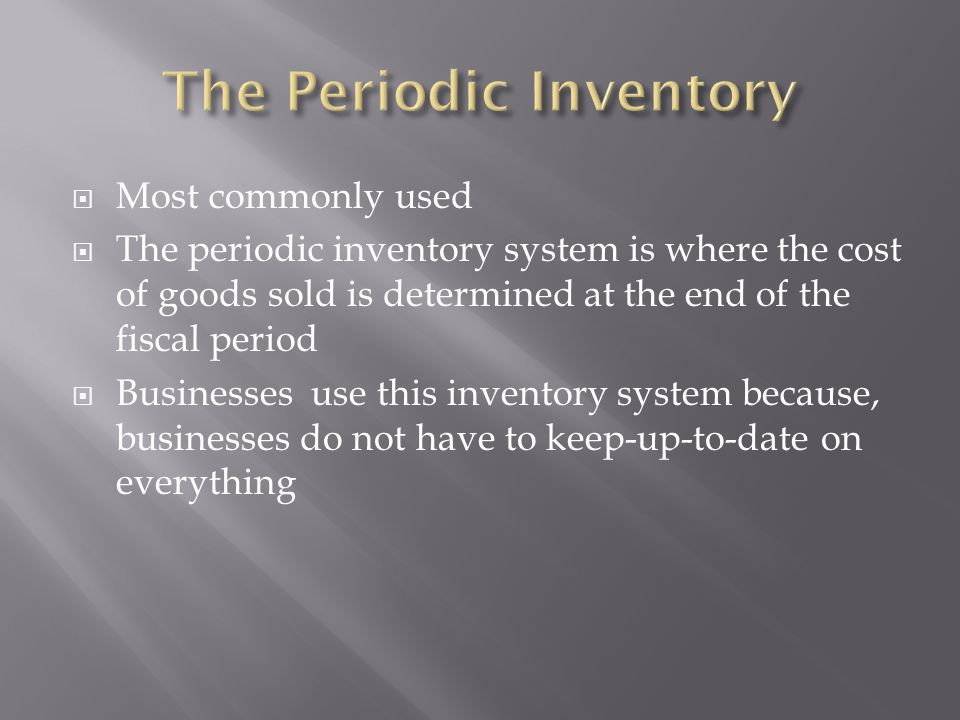 The Periodic Inventory