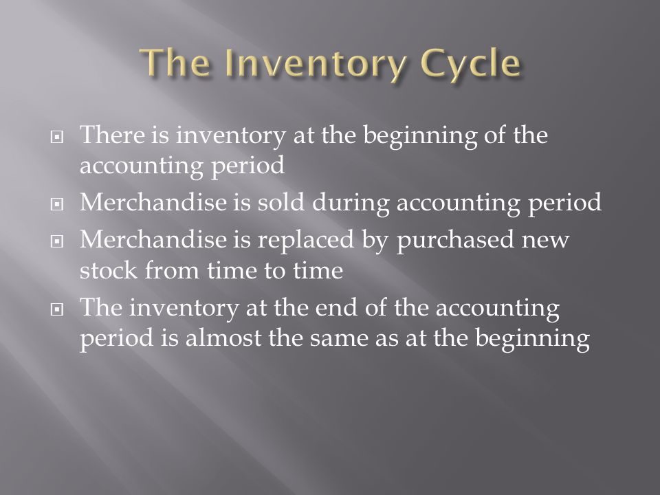 The Inventory Cycle There is inventory at the beginning of the accounting period. Merchandise is sold during accounting period.