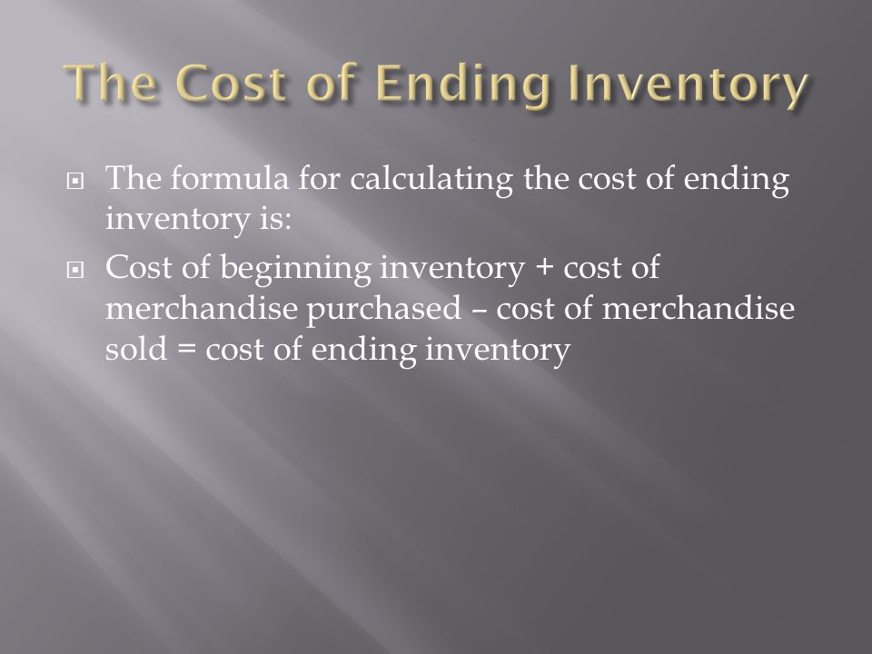 The Cost of Ending Inventory