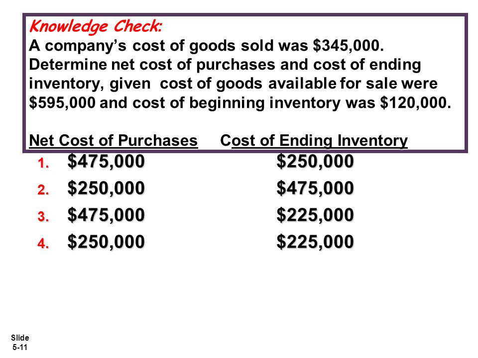 Knowledge Check: A company's cost of goods sold was $345,000