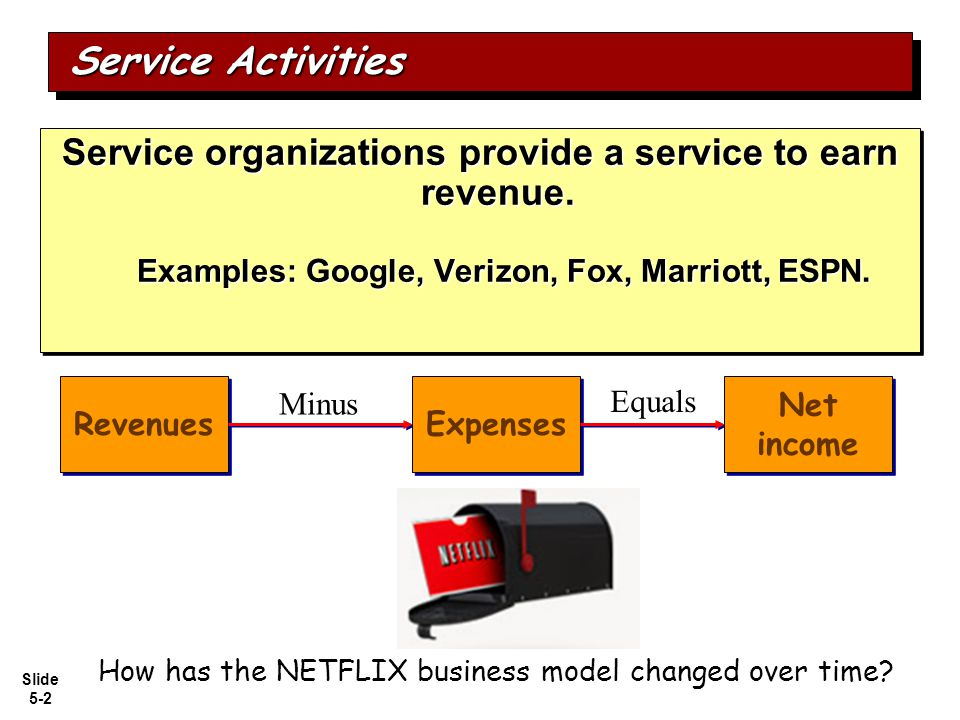 Service Activities Service organizations provide a service to earn revenue. Examples: Google, Verizon, Fox, Marriott, ESPN.