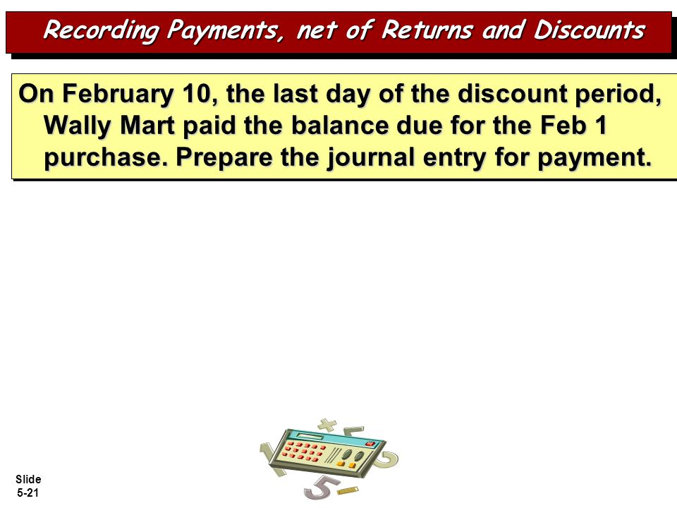 Recording Payments, net of Returns and Discounts