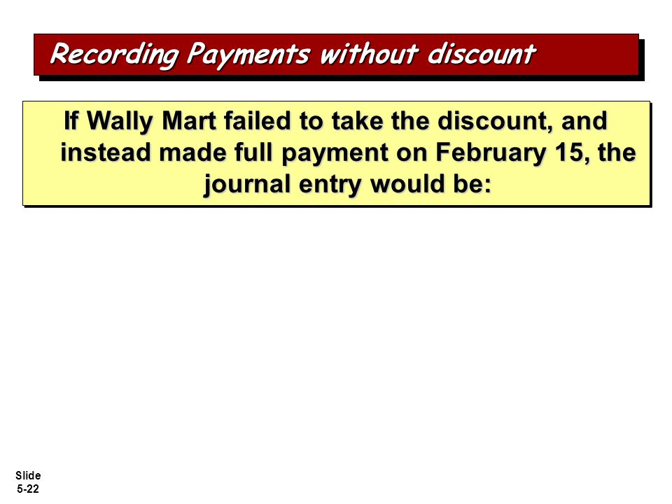 Recording Payments without discount