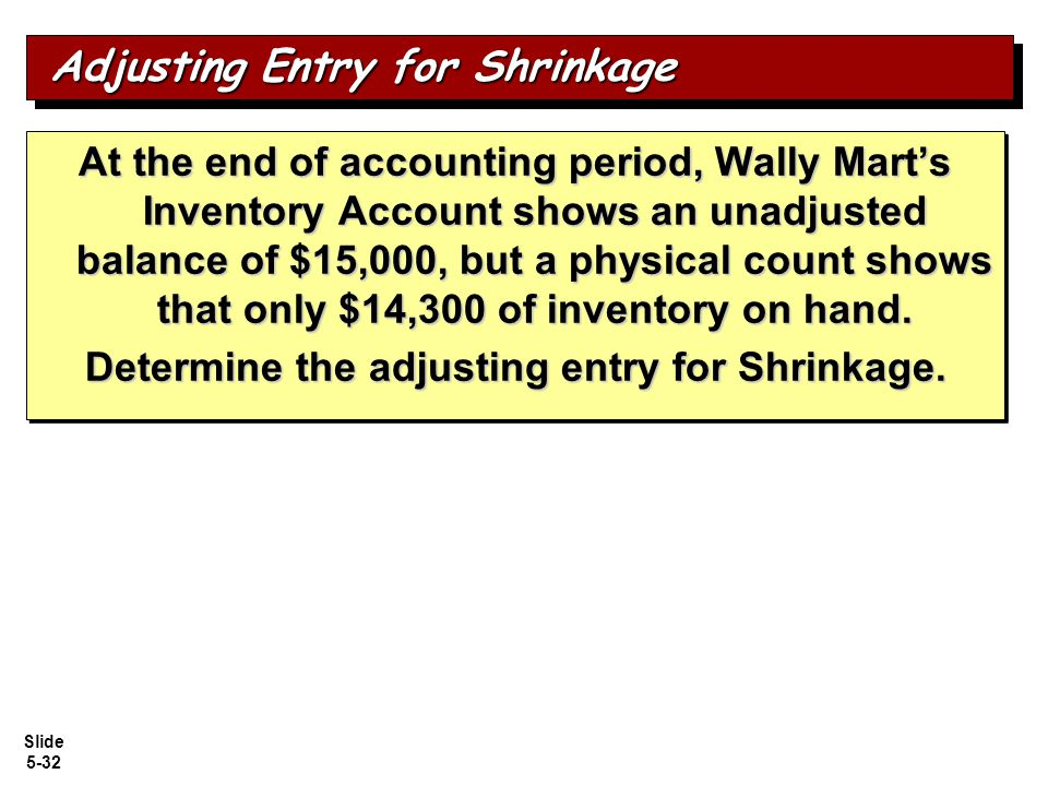 Adjusting Entry for Shrinkage